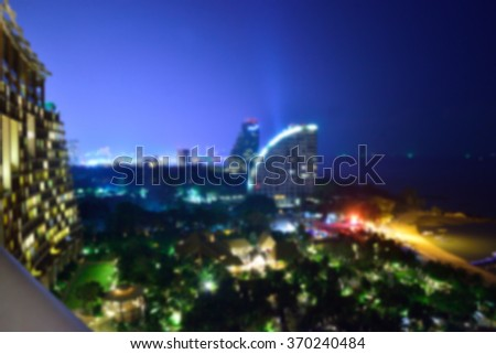 Pattaya city Nights(Thailand),The concept for blurring the background. - stock photo