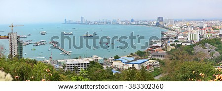Pattaya city panorama, Thailand, air view, buildings and beach, seashore, banner for site or background - stock photo