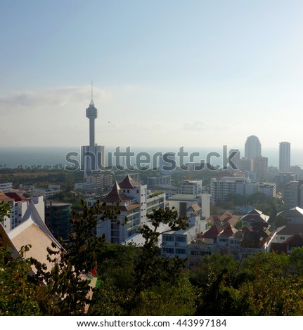 Pattaya city view from the mountain - stock photo