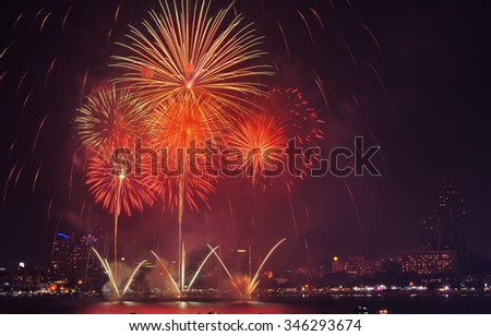 Pattaya International fire work in 2015, Fire work of thailand show, Pattaya Thailand 2015, For use new year 2016 work.  - stock photo