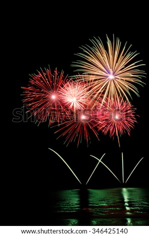 Pattaya International Fireworks Festival 2015, isolated on black background