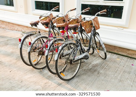 PATTAYA - OCTOBER 19: The new vintage bicycles for tourist in famous hotel on October 19,2015 in Pattaya,Thailand.Pattaya city is famous about sea sport and night life   entertainment.