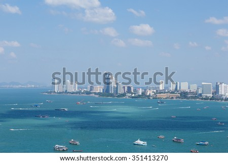 Pattaya skyline with buildings and skyscrapers - stock photo