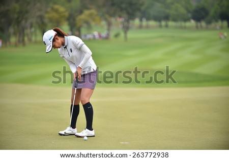PATTAYA, THAILAND: Ai Miyazato of Japan plays a shot during day one of the Honda LPGA Thailand 2015 at Siam Country Club, Pattaya on March 1,2015 in Thailand.