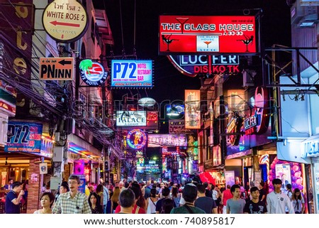 PATTAYA, THAILAND - AUGUST 07: This is Walking Street a famous red light district where many tourists come at night to visit clubs and bars on August 07, 2017 in Pattaya