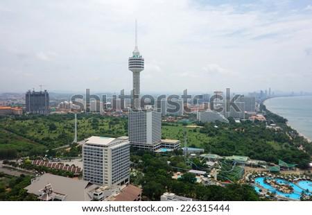 Pattaya, Thailand bird eye view - stock photo
