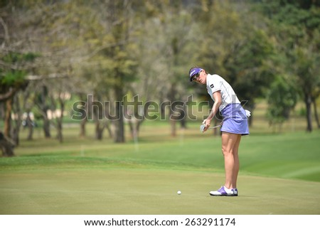 PATTAYA, THAILAND: Brittany Lang of USA plays a shot during day one of the Honda LPGA Thailand 2015 at Siam Country Club, Pattaya on Feb 26,2015 in Thailand. - stock photo