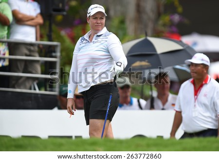 PATTAYA, THAILAND: Brittany Lincicome of USA in action during day one of the Honda LPGA Thailand 2015 at Siam Country Club, Pattaya on Feb 26,2015 in Thailand.