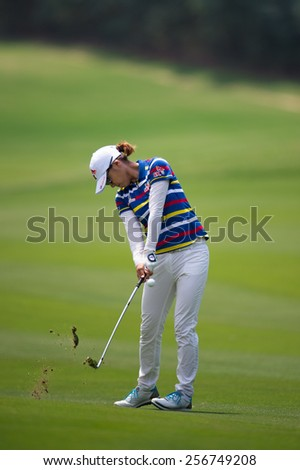 PATTAYA, THAILAND :Choi Na Yeon of South Korea  hits the ball  during day one of the Honda LPGA Thailand 2015 at Siam Country Club, Pattaya on Feb 26,2015 in Thailand.