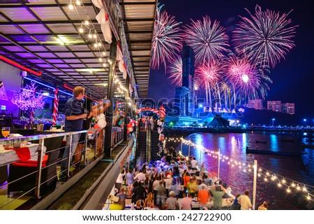 PATTAYA, THAILAND - Countdown 2015 , January 1, 2015  in Balihy foreland , South Pattaya ; Thailand.   - stock photo