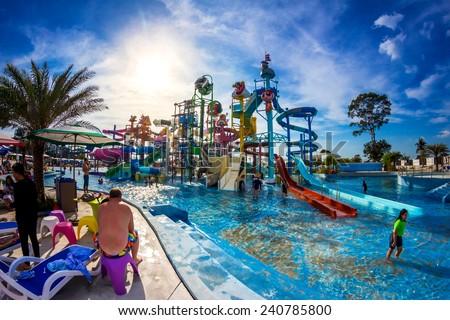 PATTAYA, THAILAND - December 29, 2014: Many travelers have fun in Cartoon Network Amazone Water Park, New Destination of Activity in Pattaya on December 29, 2014 in Pattaya Thailand. - stock photo