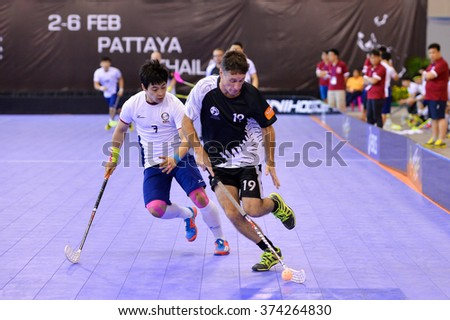 PATTAYA,THAILAND FEB5:Bertschinger Christian#19 of New Zealand in action during the Men's World Floorball Championships Qualifications 2016 between Korea vs New Zealand on February5,2016 in Thailand
