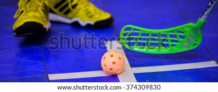 PATTAYA,THAILAND FEB5:Detail of the floorball during the Men's World Floorball Championships Qualifications 2016 between Korea vs New Zealand on February5,2016 in Thailand