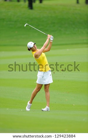PATTAYA, THAILAND- FEB 22 :Michelle Wie competes at Honda LPGA Thailand at Siam Country Club (Old Course) on February 22, 2013 in Pattaya, Thailand - stock photo