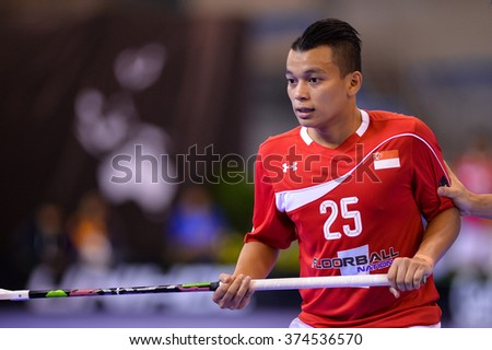 PATTAYA,THAILAND FEB5:Remlee Syazni of Singapore in Portraits during the Men's World Floorball Championships Qualifications 2016 between Japan vs Singapore on February5,2016 in Thailand