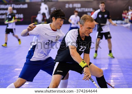 PATTAYA,THAILAND FEB5:Sundin Sven Erik#22 of New Zealand in action during the Men's World Floorball Championships Qualifications 2016 between Korea vs New Zealand on February5,2016 in Thailand