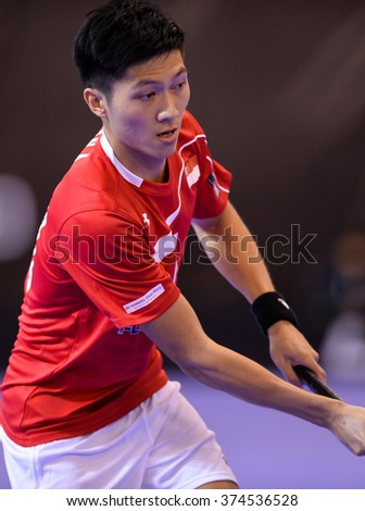 PATTAYA,THAILAND FEB5:Unidentified player of Singapore in action during the Men's World Floorball Championships Qualifications 2016 between Japan vs Singapore on February5,2016 in Thailand