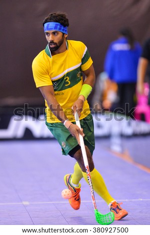 PATTAYA,THAILAND FEB5:Veron Jonathon of Australia run with the ball during the Men's World Floorball Championships Qualifications 2016 between Thailand and Australia on February5,2016 in Thailand