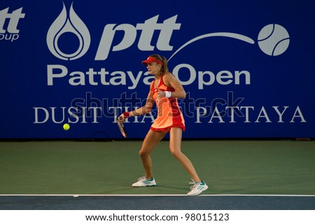 PATTAYA THAILAND - FEBRUARY 10: Daniela Hantuchova of Slovakia returns a ball during Round 3 of PTT Pattaya Open 2012 on February 10, 2012 at Dusit Thani Hotel in Pattaya, Thailand