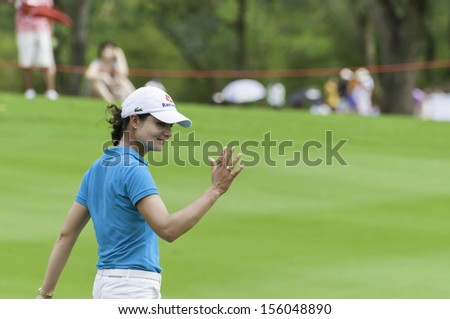 PATTAYA THAILAND-FEBRUARY 21-Lorena Ochoa of Mexico waved to fan in Final Round of Honda LPGA Thailand 2010 on Feb 21, 2010 at Siam Country Club Old Course in Pattaya, Thailand - stock photo