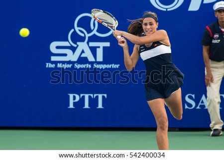 PATTAYA, THAILAND-FEBRUARY 9: Monica Puig of Puerto Rico returns a ball during Day 1 of 2015 PTT Thailand Open on February 9, 2015 in Pattaya, Thailand.