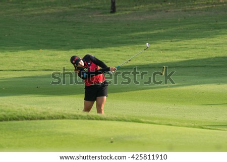 PATTAYA, THAILAND-FEBRUARY 20: Moriya Jutanugarn of Thailand in action during Round 3 of Honda LPGA Thailand 2015 on February 20, 2015 at Siam Country Club Old Course in Pattaya, Thailand