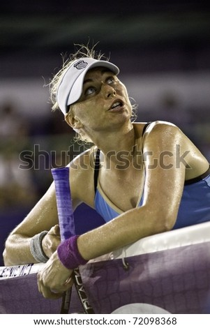 PATTAYA THAILAND - FEBRUARY 12: Russian tennis player Vera Zvonareva protests against the umpire judgment during the semi final round of 2011 PTT Pattaya Open on Feb. 12, 2011 at Dusit Thani Hotel in Pattaya, Thailand - stock photo