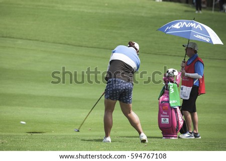 Pattaya, THAILAND - FEBRUARY 23: Shanshan Feng of China in action during the Honda LPGA Thailand 2017 at Siam Country Club on February 23, 2017 in Chon Buri, Thailand