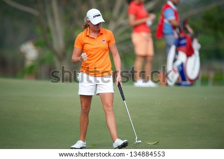 PATTAYA THAILAND-FEBRUARY 22: Stacy Lewis of USA gestures to her fans during hole10 day two the  Honda LPGA 2013 on February 22,2013 at Siam Country Club Old Course in Pattaya, Thailand