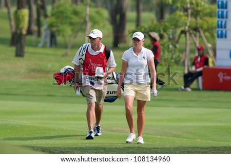 PATTAYA, THAILAND-FEBRUARY 16: Stacy Lewis of USA walks towards hole 18 during Round 1 of Honda LPGA 2012 on February 16, 2012 at Siam Country Club Old Course in Pattaya, Thailand
