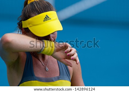 PATTAYA THAILAND - JANUARY 31: Daniela Hantuchova of Slovakia reacts after losing a point during 1st round of PTT Pattaya Open 2013 on January 31, 2013 at Dusit Thani Hotel in Pattaya, Thailand - stock photo