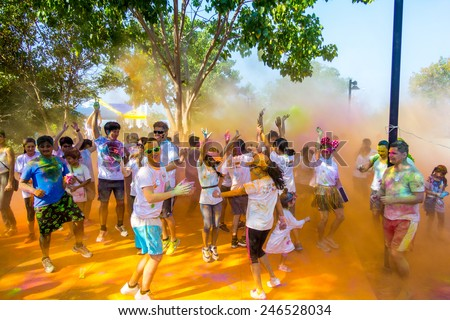 Pattaya, Thailand - January 18, 2015: Pattaya Color Run 2015, Hundreds of people joined in with this fun event, this was the very first time for it to be held in Thailand. - stock photo