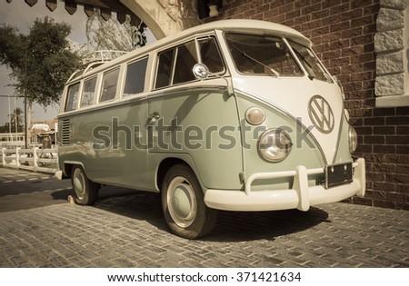PATTAYA,THAILAND - JANUARY 23,2016 : The vintage image of Volkswagen retro vintage van is parked in Swiss sheep farm Pattaya. - stock photo
