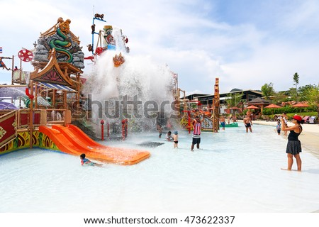 PATTAYA, THAILAND - JUL 15: Ramayana Water Park, Fun of new water park on July 15,2016 in Pattaya, Thailand. The Park is built to the highest international standards and using only premium equipment