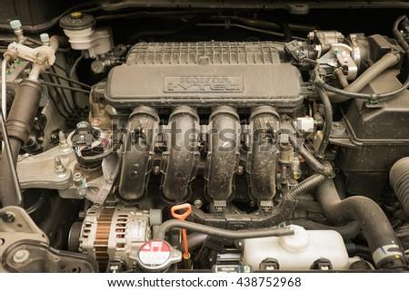 PATTAYA, THAILAND - JUNE 18, 2016 : Closeup of engine in Honda City 2014 model, from Honda in Thailand. - stock photo