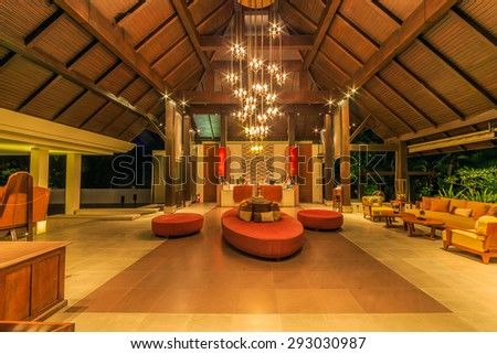 PATTAYA, THAILAND - MAY 23 : Lobby interior of Sea Sand Sun Hotel on May 23, 2015. The hotel consist of 60 boutique-style masterpiece Villas and Rooms, finest collection of Villa in the Pattaya.