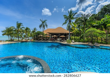 PATTAYA, THAILAND - MAY 24 : Swimming pool of Sea Sand Sun Hotel on May 24, 2015. The hotel consist of 60 boutique-style masterpiece Villas and Rooms, finest collection of Villa in the Pattaya.