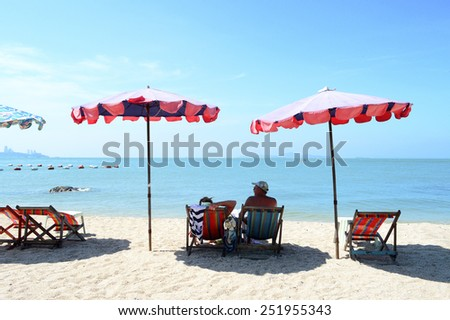 Pattaya, Thailand - Nov 3, 2014 - Wongamat beach is another nice and quiet beach  in Pattaya which suitable for those who need to escape from crowded at  Pattaya beach