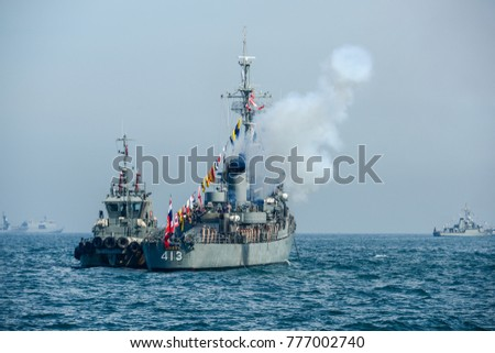 Pattaya, Thailand - November 18, 2017, Navy warship gunning salute on sea on the 50th anniversary ASEAN international fleet review 2017 drill in Pattaya, Thailand