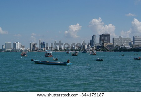 PATTAYA, THAILAND - NOVEMBER 20, 2015: Pattaya skyline with buildings and skyscrapers in day time on November 20, 2015 in Pattaya,Thailand. Pattaya city is famous about night life entertainment.