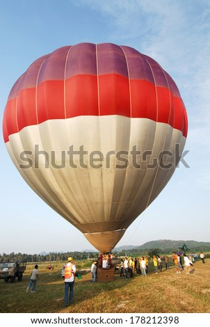 Pattaya, Thailand 28 November 2008: The second Pattaya International Balloon Fiesta was arranged in November 2008 with 30 participants from all over the world. Balloon with dual seat airborne.