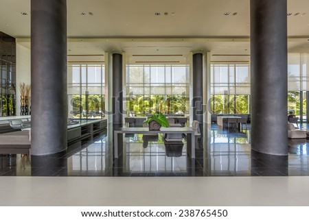 PATTAYA, THAILAND - SEP 21: Lobby of The Zign Hotel on Sep 21, 2014 in Pattaya. It is luxury hotel in Naklua, Pattay, the interior design is back into the 1950s and 1960s.