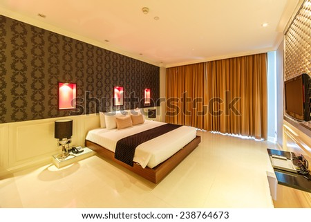 PATTAYA, THAILAND - SEP 21: Room interior of The Sizn Hotel on Sep 21, 2014 in Pattaya. It is luxury hotel in Naklua, Pattay, the interior design is back into the 1950s and 1960s.