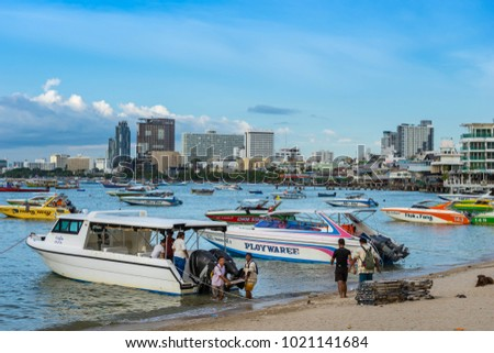 PATTAYA, THAILAND - September 2 : Many Speedboat wait for tourists to take a tour of Pattaya Bay. on September 2, 2017