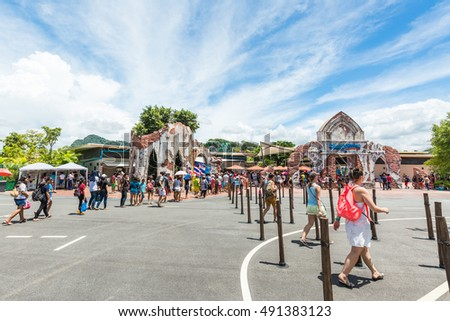 PATTAYA, THAILAND - SEPTEMBER 30, 2016: Many tourists are lining up to buy tickets to the RamaYana Water Park. The Park is built to the highest international standards and using premium equipment.