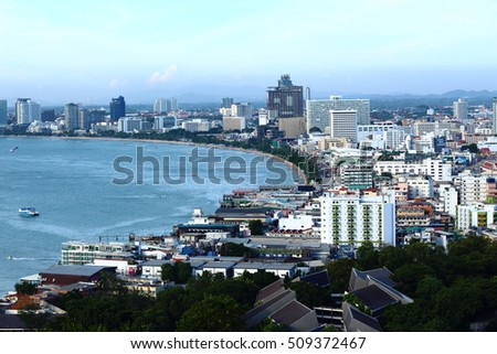 PATTAYA, THAILAND - SEPTEMBER 10, 2016:View of building and Pattaya beach at viewpoint Pratumnak Hill on September 10, 2016 in Pattaya, Thailand.