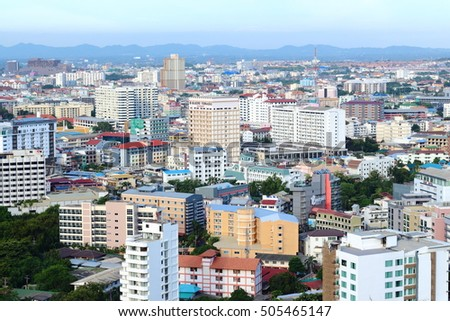 PATTAYA, THAILAND - SEPTEMBER 10, 2016:View of building in Pattaya city at Chonburi on September 10, 2016 in Pattaya, Thailand.