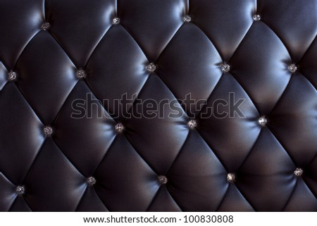 pattern and surface of sofa leather with crystal buttons - stock photo
