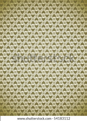 Pattern background of golden heart handle