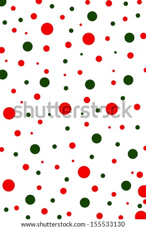 Pattern background with Christmas green and red polka dots.